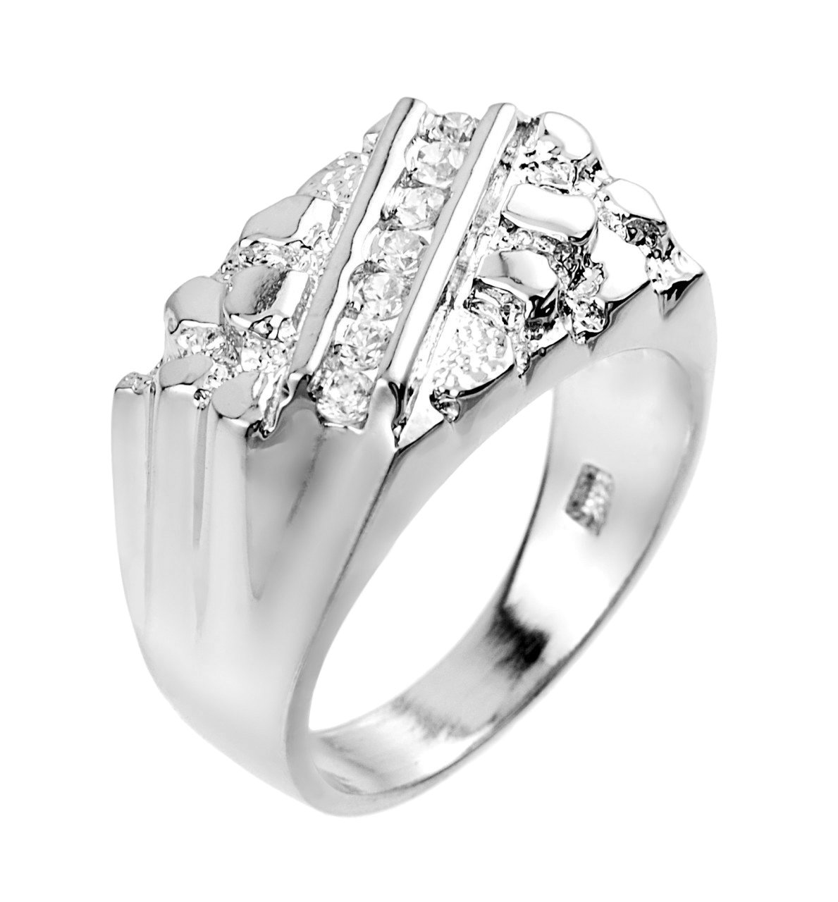 Fine Sterling Silver Nugget Ring with Cubic Zirconias (Size 12.25)