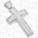 ArtLine Jewels Solid 14K White Gold Finish Round Cut Diamond Cross Pendant With Chain