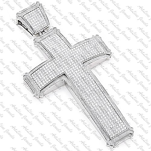 ArtLine Jewels Solid 14K White Gold Finish Round Cut Diamond Cross Pendant With Chain by ArtLine Jewels