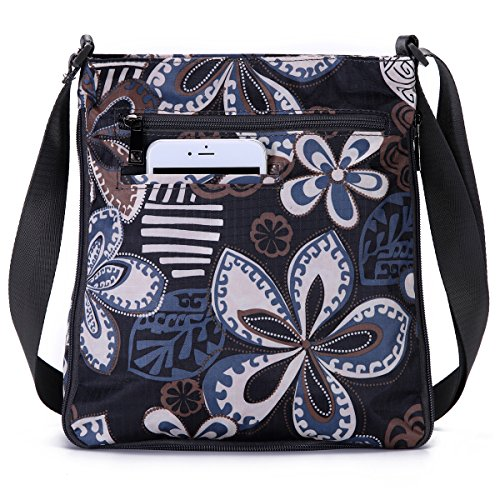 Pocket Zipper Black Flower Five Mutil Adjustable Valve Purse Crossbody Nylon with Bag STUOYE 8zn5qO5