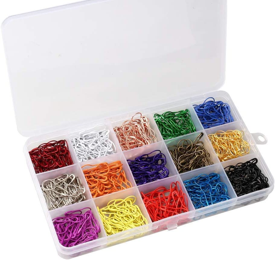 Bulb Safety Pins 750 Pieces Gourd Pins Metal Gourd Clips for Art Craft Sewing Making Home Office Use 15 Colors Gourd Shape Clip with Storage Box Metal Clips