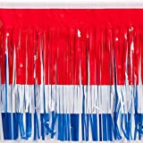 Red White and Blue Vinyl Fringe Parade Material