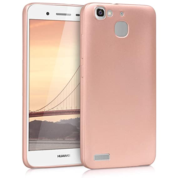 kwmobile TPU Silicone Case for Huawei GR3 / P8 Lite Smart - Soft Flexible Shock Absorbent Protective Phone Cover - Metallic Rose Gold