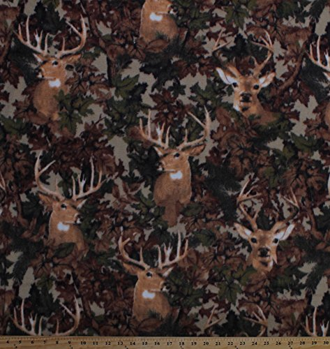 Fleece Deer Camo Camouflage Hunting Wildlife Animals Outdoors Leaves Tan Fleece Fabric Print by the Yard a46307b