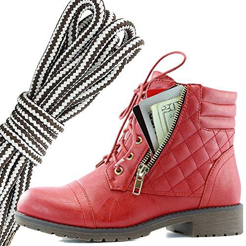 Dailyshoes Donna Militare Allacciatura Fibbia Stivali Da Combattimento Caviglia Alta Esclusiva Tasca Per Carte Di Credito, Marrone Scuro Grigio Rosso Pu