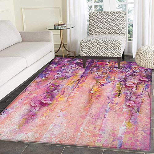 Flower Rugs for Bedroom Watercolor Painting Effect Wisteria Tree Blossoms Soft Scenic Spring Display Circle Rugs for Living Room 3'x5' Pink Violet Purple