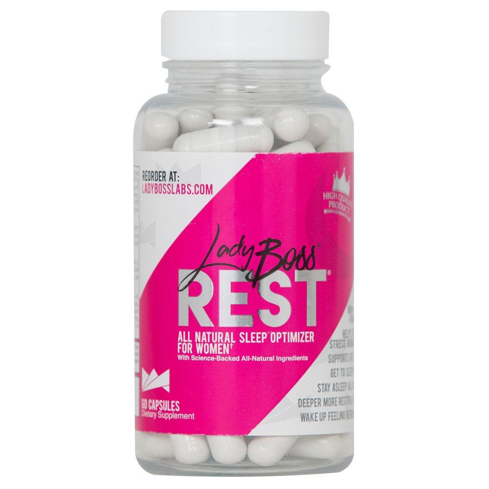 LadyBoss REST - Premium Natural Deep Sleep Aid FOR WOMEN - Instant Way To Optimize Every Night's Sleep For Maximum Health & Weight Loss Results - Non Habit Forming - Reduce Stress - Herbal Formula