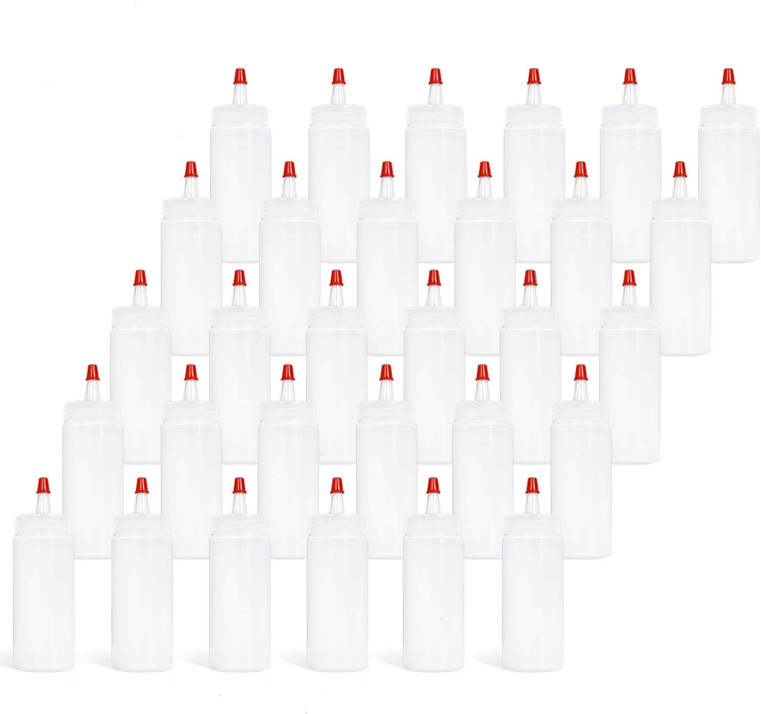 Vumdua 30 Pack Plastic Squeeze Condiment Bottles, 4 Oz Clear Squeeze Bottles with Red Tip Cap Squirt Bottle for Sauce, Ketchup, BBQ, Arts and Crafts