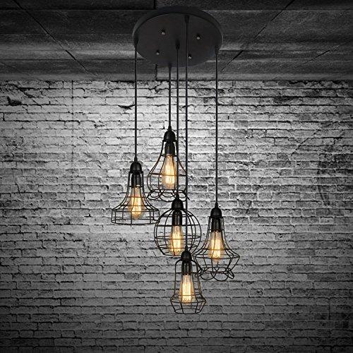 Industrial Multi Light Pendant Light -LITFAD Rustic Barn