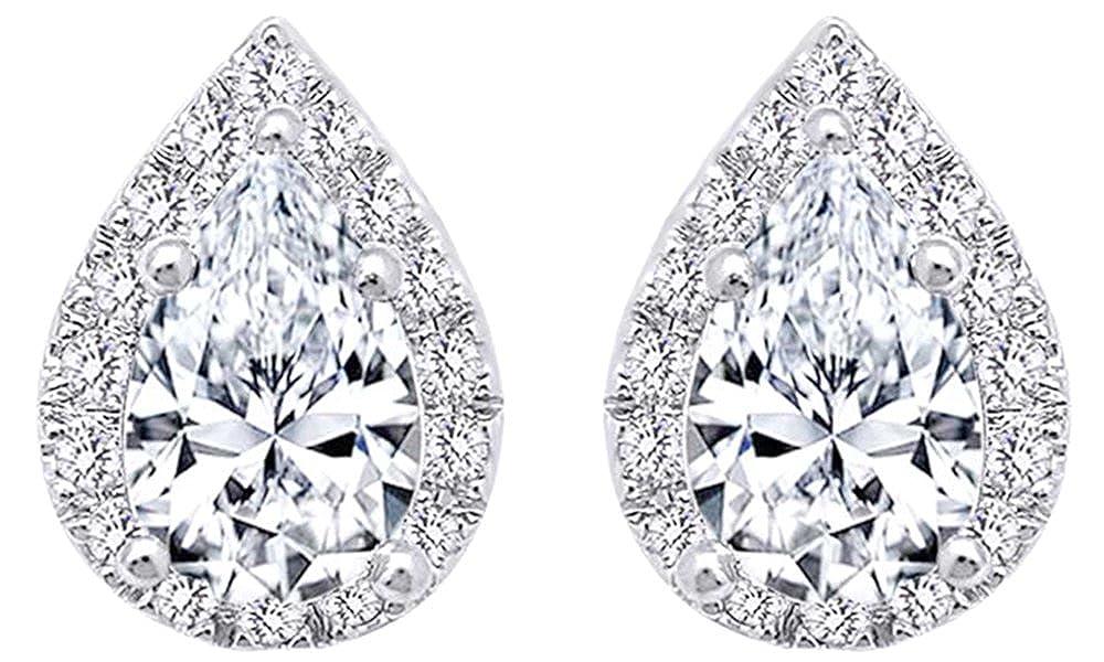 0.62 cttw, Weißszlig; mit Diamond Pear Form Ohrstecker in 14 kt 585, Weißszlig;Gold 14 Karat (585) WeißGold