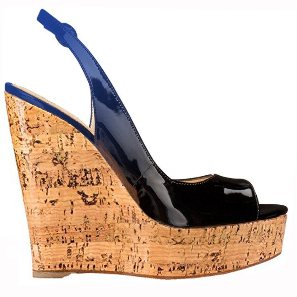 Mermaid Women's Shoes Peep-Toe Patent Leather Sling-Back Wedge Heeled Platform length Sandals B07D615GZC US10 Feet length Platform 10.3