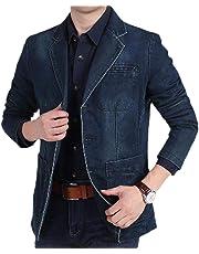 Macondoo Mens Office Coat Denim Lapel Collar Jean Blazer Washed Jacket