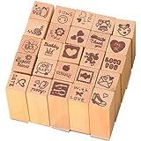 Carimbo de madeira Exceart 1 pç mini selo de scrapbook para decoração de cartelas de artesanato para professores de jardim de