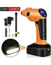 Amzdeal Compressore Portatile Per Auto Mini Pompa Elettrica Compressore Aria Portatile con Schermo LCD Digitale Ricaricabile 12V 150PSI