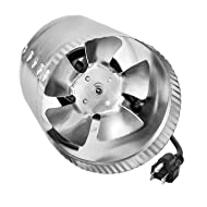 """iPower GLFANXBOOSTER4 4 Inch 100 CFM Booster Inline Duct Vent Blower Exhaust and Intake 5.5' Grounded Power Cord HVAC Fans, 4"""", Grey"""