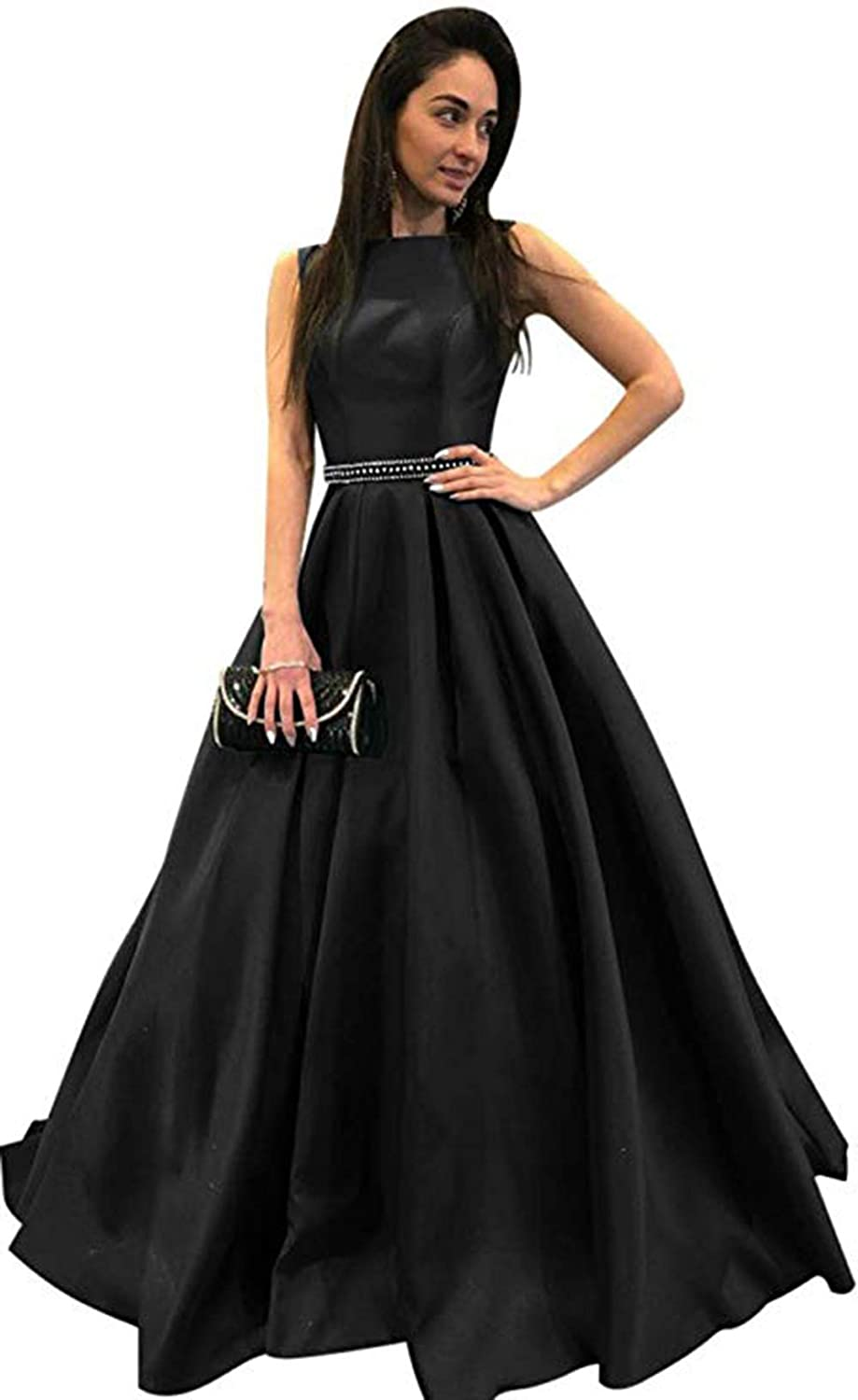 Black Ri Yun Womens Scoop Neck Long Prom Dresses 2019 Backless Beaded ALine Satin Formal Evening Ball Gowns with Pockets