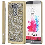 GreatShield® LG G3 Case [TACT Design][Ultra Slim Fit] Hard Rubber Coating Case Cover for LG G3 (Quill / Gold)