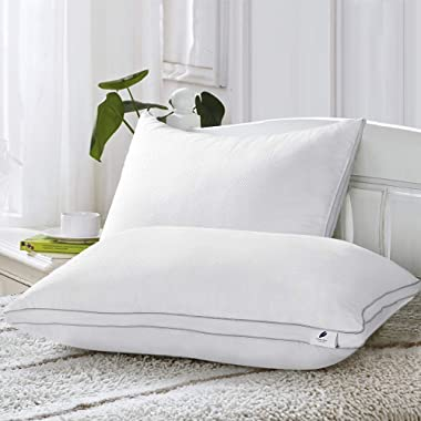 viewstar Standard Bed Pillows for Sleeping, 2 Pack Soft Hotel Quality Pillows for Back and Stomach Sleepers, Hypoallergenic Down Alternative Breathable Gusseted Pillow (20x26 inch)