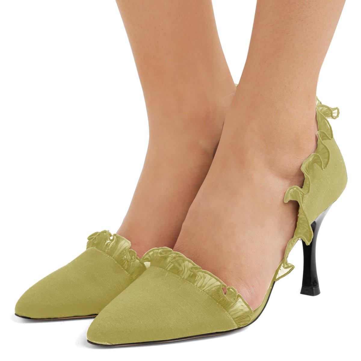 XYD Women Lace D'Orsay Pumps Pointed Toe Stiletto High Heels Slip on Dress Wedding Bridal Shoes B07BHGQXL3 6 B(M) US|Yellow Green