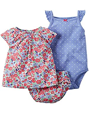 3 Piece Diaper Cover Set, Red Floral