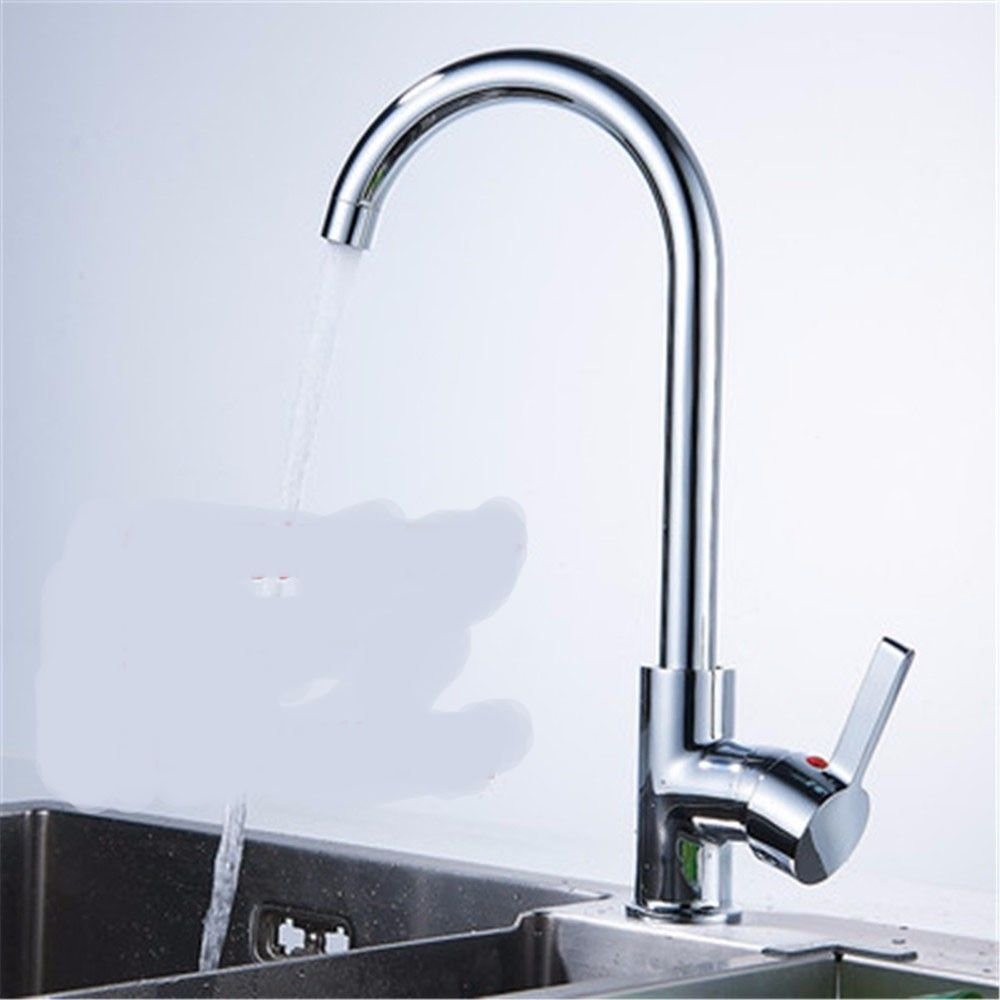 A Hlluya Professional Sink Mixer Tap Kitchen Faucet The tap 304 stainless steel hot and cold single faucet basin wash dishes can be redated to sit-in,