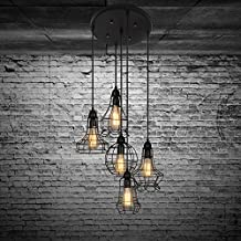 Industrial Set of Cage Lighting Fixture - LITFAD Rustic Barn Metal Chandelier Max 200w with 5 Cage Lights Black Finish, Pendant Light