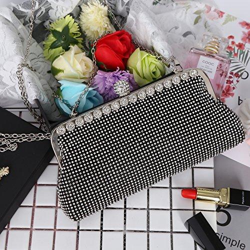 Handbags Evening Clutch Design Purse Beaded Sequin Fashion Bag Black Crystal Women Rhinestone xqRqXwvI
