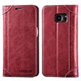 Galaxy S7 Case, Lensun Genuine Leather Wallet Magnetic Flip Case Cover for Samsung Galaxy S7 5.1' - Wine Red(S7-DX-WR)