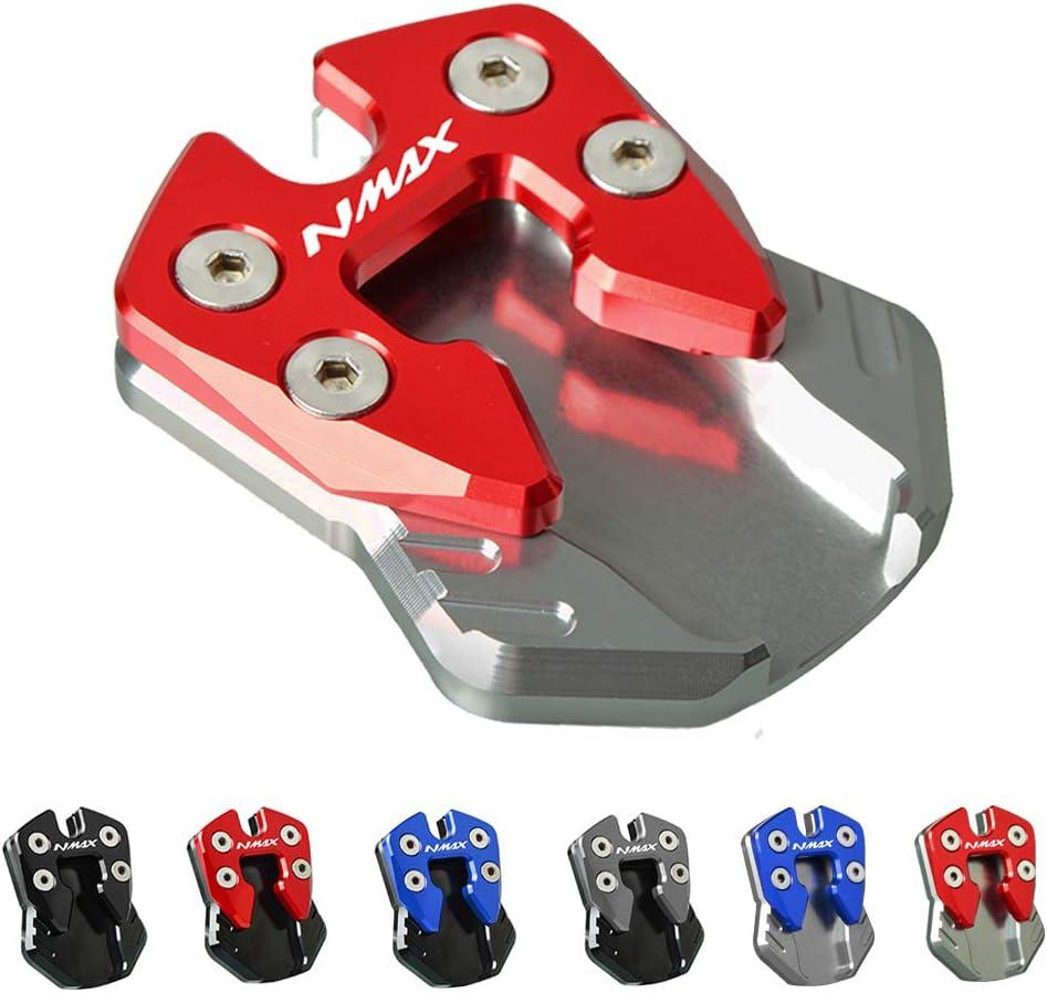 NMAX Moto Agrandir Support de B/équille Lat/érale pour Yamaha NMAX N Max 125 155-Noir+Rouge