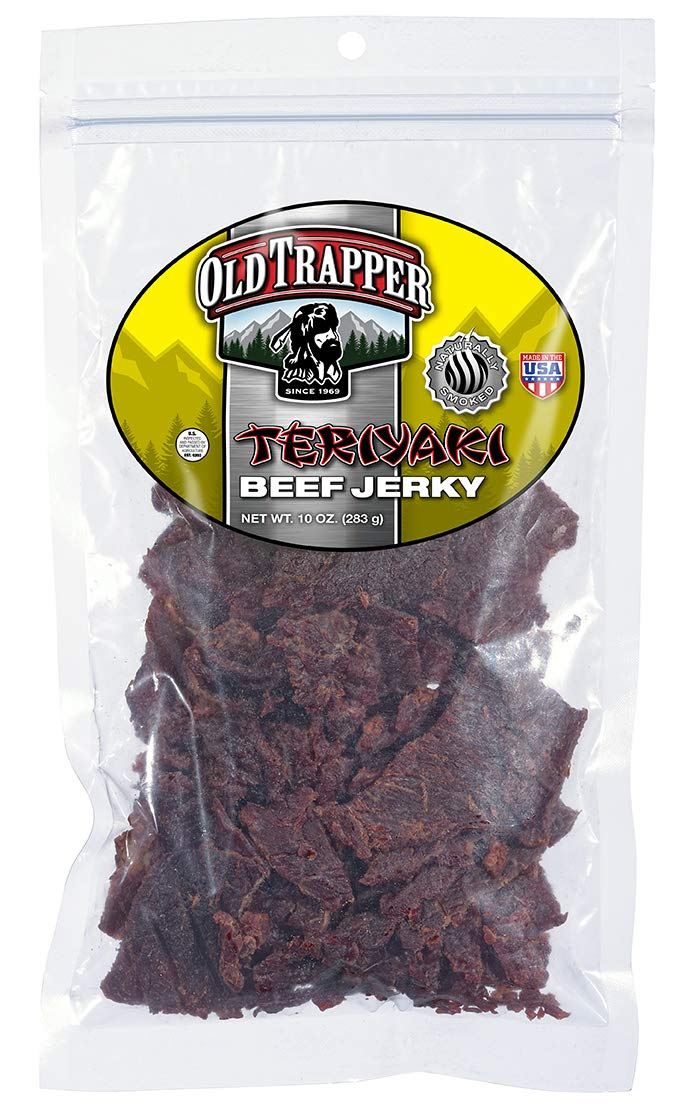 Old Trapper Teriyaki Beef Jerky | Traditional Style Real Wood Smoked | Healthy Snack Made from 100% Top Round Steaks | 10 Ounce Bag