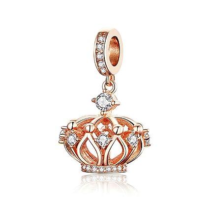 DIY Rose Gold European Charm Crystal Spacer Beads Fit Necklace Bracelet