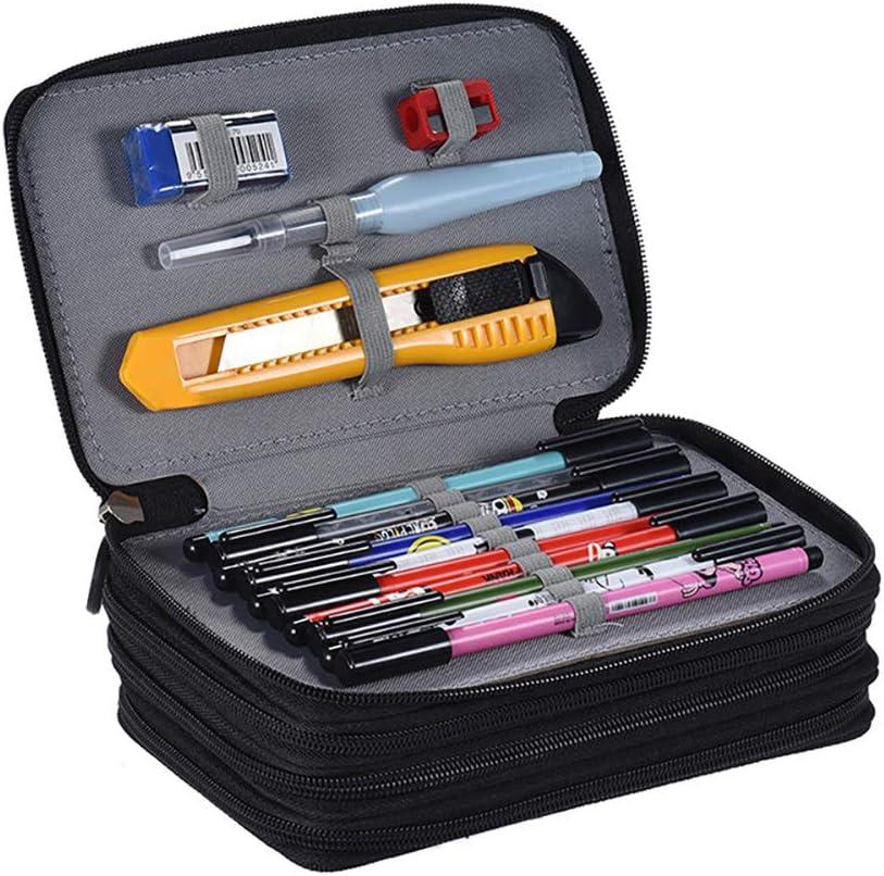 TROUSSE Handy Oxford Crayon de couleur poche 4 couches et 4 tirettes 72 Emplacement de grande capacit/é multi-couche pour les /étudiants sac Pen Housse Stationary Noir