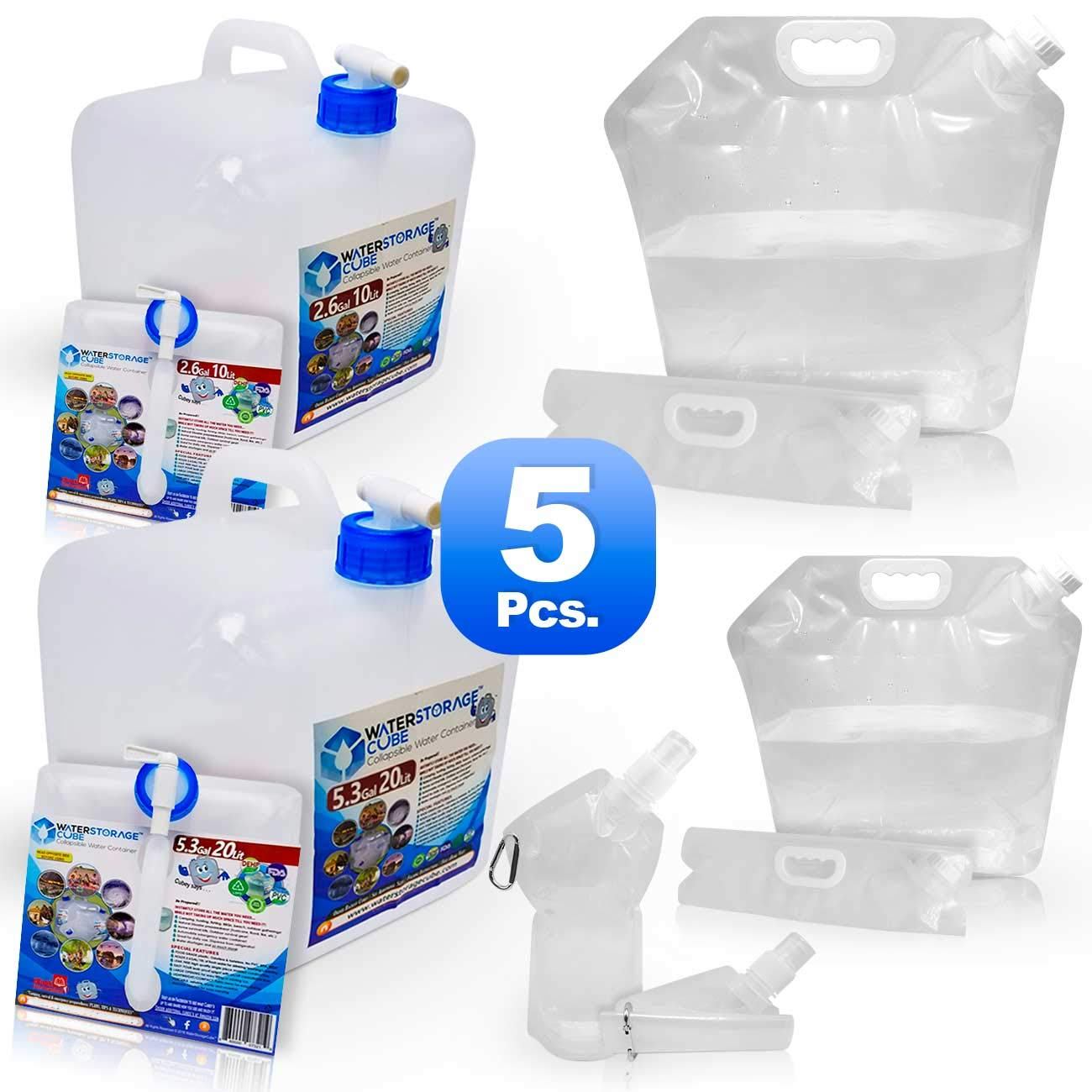 WaterStorageCube Collapsible Water Containers No BPA Odorless Camping Drink Storage Carrier Bag & Jug for Outdoors Hiking Backpack Portable No-Leak Freezable (2 Cube 10L+20L, 2 Bag 5L+10L, 1 Btl 25oz) by WaterStorageCube