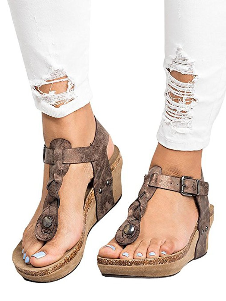 Women Sandals Wedges Boho Braided Casual Summer T-Strap Mid Heel Wedge Sandal Shoes
