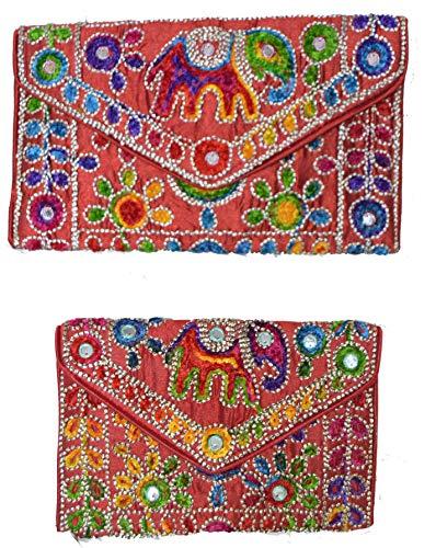 con cms motivos Varios tela 32x20 Rojo colores étnicos Bolso clutch de de disponibles TwZ88t
