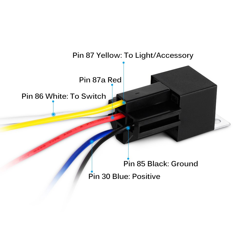 Gooacc 6 Pack Automotive Relay Harness Set 5 Pin 30 40a Here Is A Conceptual Diagram Of Wiring An Interlocked Switches 12v Spdt With Interlocking Socket And Harnesses2 Years Warranty