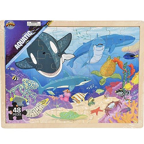 Hands On Learning Jigsaw Puzzle Underwater Ocean Sea Life Animal Wooden Floor Puzzle 48 Pieces Childrens Puzzle (Floor Sea Life Puzzle)