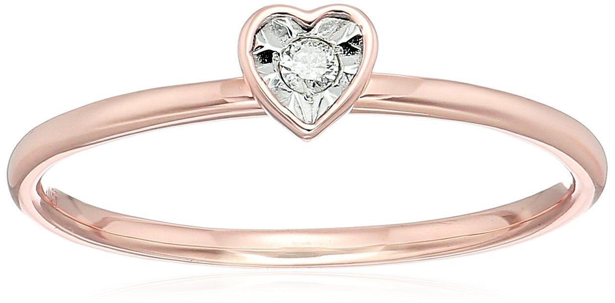 10k Rose Gold Diamond Accent Heart Stack Ring, Size 7