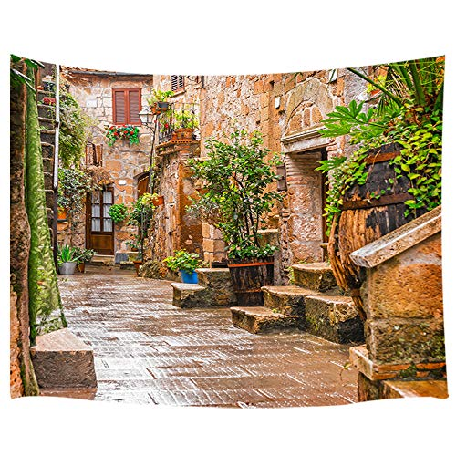 KOTOM DYNH Colorful Alley in Old Town Tuscany at Italy City Tapestry, Wall Art Hanging Blankets Home Decor for Bedroom Living Room Dorm, 60X40 Inches