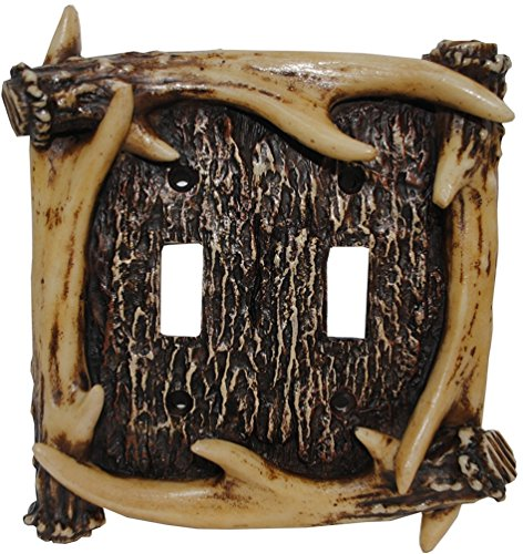 Deer Antler Double Switch Cover Plate - Faux Antler Outlet Cover