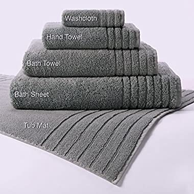 Cotton Craft - 7 Star Luxury Hotel Super Zero Twist Oversized Bath Sheets - 35x70 - Charcoal - 2 Pack - 615 Grams 100% Zero Twist Cotton