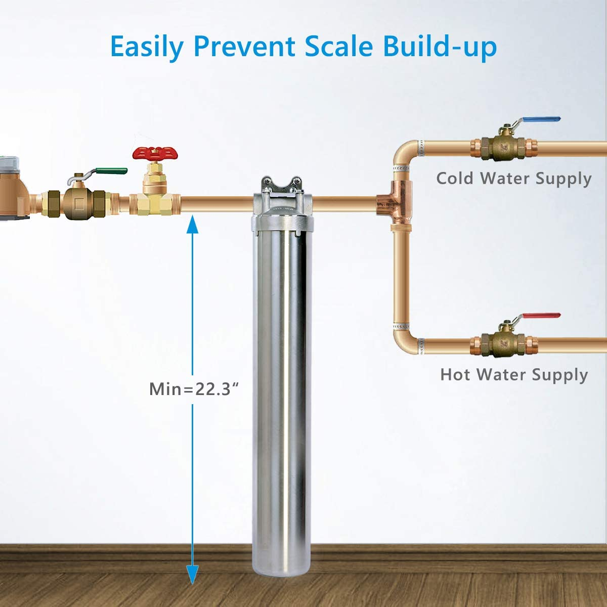 """Hansing Whole House Water Softener System Alternative, 3-Stage Pleated Hard Water Filter with Resisting Clogging Design, Salt Free Solution and 304 Stainless Steel Housing for Household (3/4"""" FNPT) - -"""