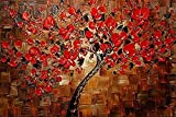 GreaBen Red Art Work Maple Tree Pictures Abstract 100% Hand Painted Floral Oil Paintings On Canvas Wall Art For Living Room Bedroom Home Office Decorations Wall Decor