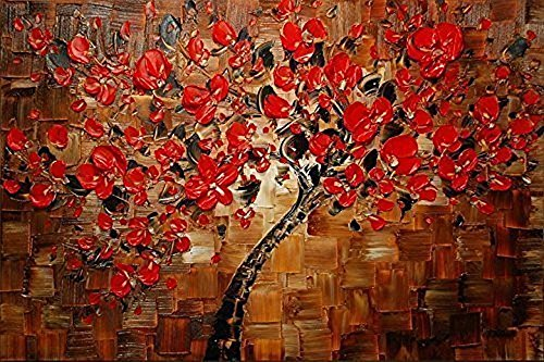 GreaBen Red Art Work Maple Tree Pictures Abstract 100% Hand Painted Floral Oil Paintings On Canvas Wall Art For Living Room Bedroom Home Office Decorations Wall (Painted Floral Accents)