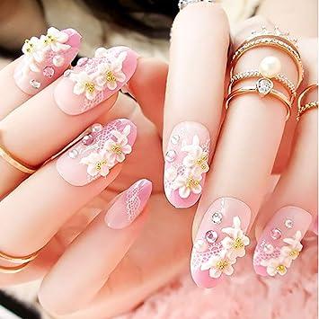 Amazon.com: Drecode uñas postizas con perlas de imitación de ...