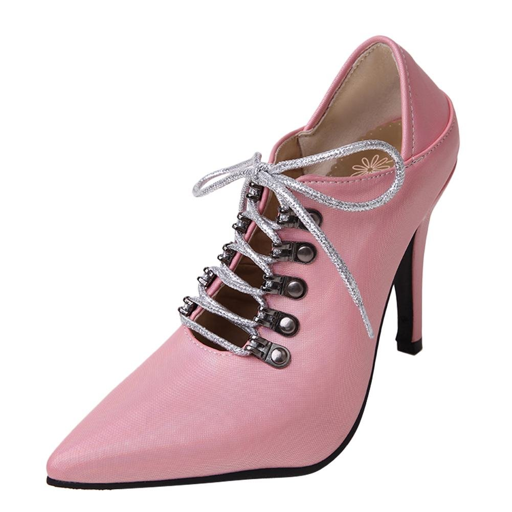 MissSaSa Damen Hoch Absatz Spitz Schnuuml;r-Pumps40 EU|Pink(pu)
