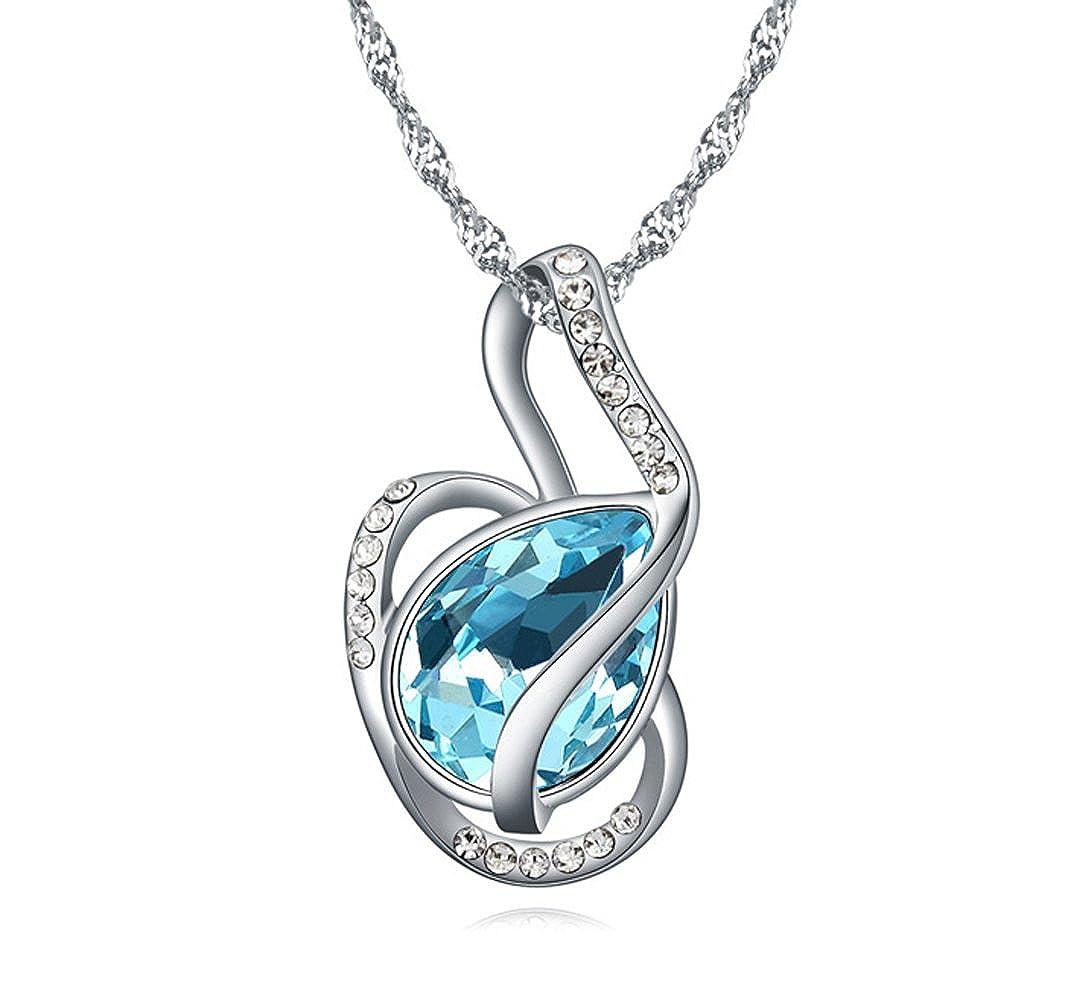 Sojewe White Gold Plated Heart Pendant Sea Blue Swarovski Elements Crystal for Women,Teen Girl