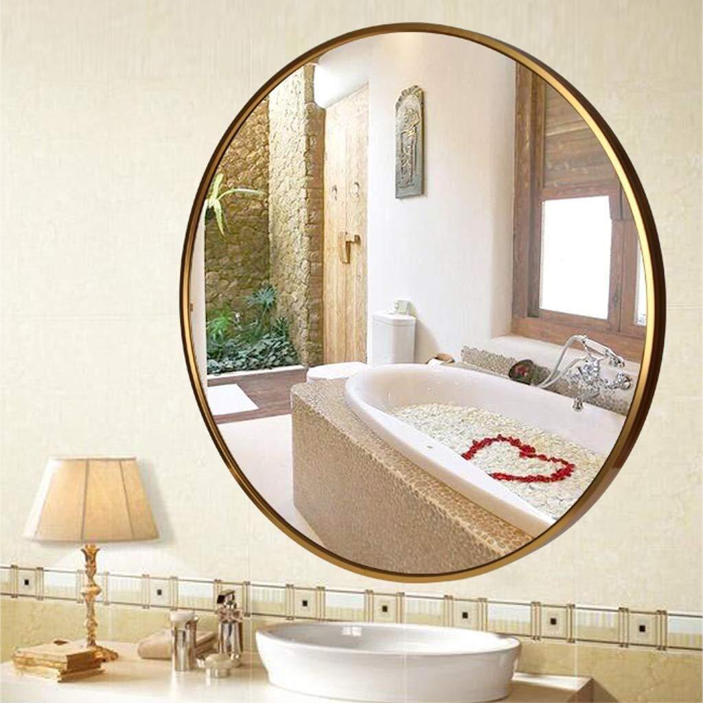 Specchio Decorativo Specchio a Parete Rotondo con Cornice in Metallo Dorato 30-80 cm for Trucco//rasatura//Doccia//toeletta for Ingresso Bagno Sala da Pranzo Soggiorno Specchio Size : 60cm
