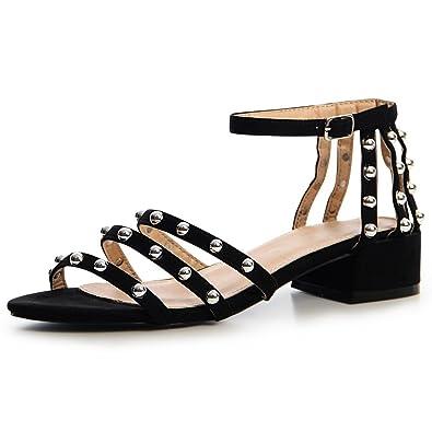 topschuhe24 1393 Damen Sandaletten Sandalen Riemchen Nieten