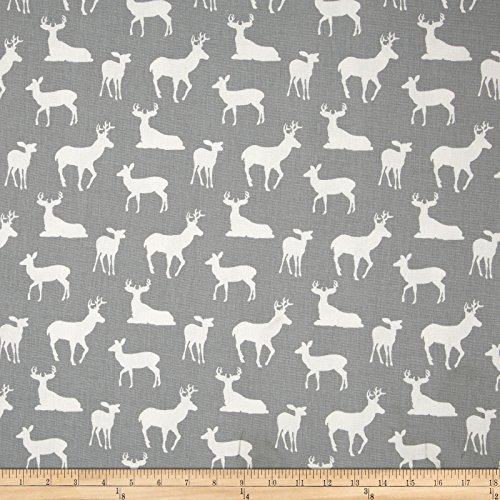 Premier Prints Deer Silhouette Cool Grey Fabric By The Yard